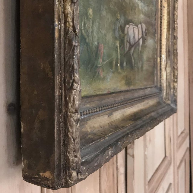 Blue 19th Century Framed Oil Painting on Canvas For Sale - Image 8 of 13