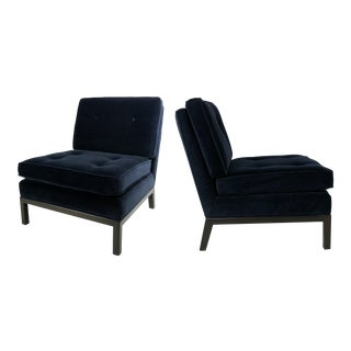 Pair of Velvet Slipper Chairs by Robsjohn-Gibbings for Widdicomb For Sale