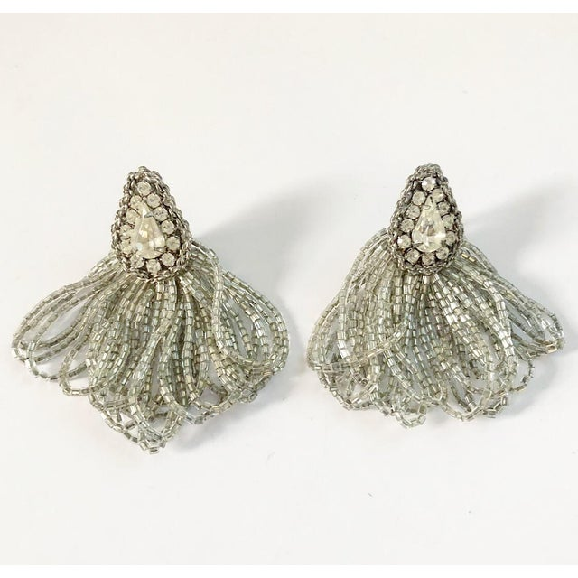 1970s Vintage Silver Beaded Rhinestone Clip on Earrings For Sale - Image 9 of 9