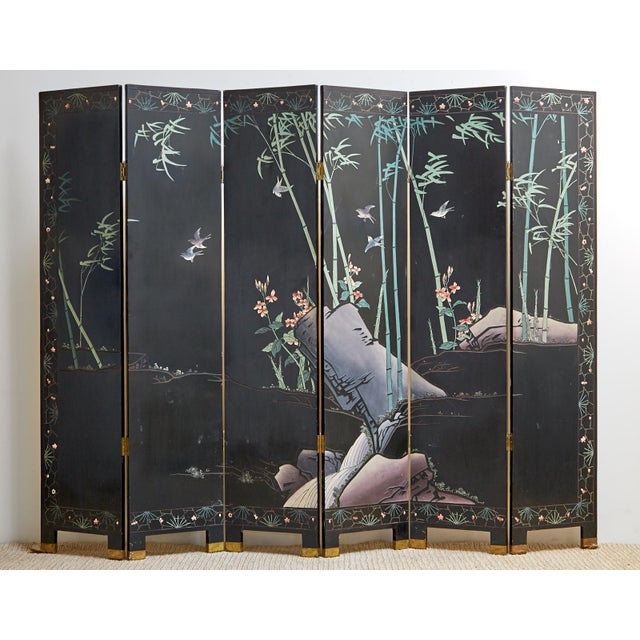 Chinese Export Gilt Coromandel Screen Crane Landscape For Sale - Image 12 of 13
