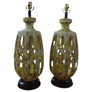 1960s Vintage Italian Marbro Attributed Glazed Ceramic Lamps - a Pair For Sale