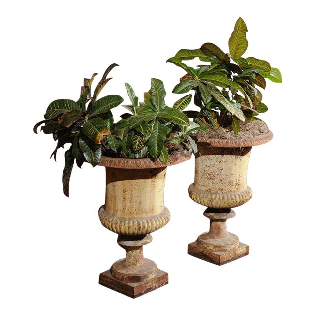 Pair of French Painted Iron Urns For Sale
