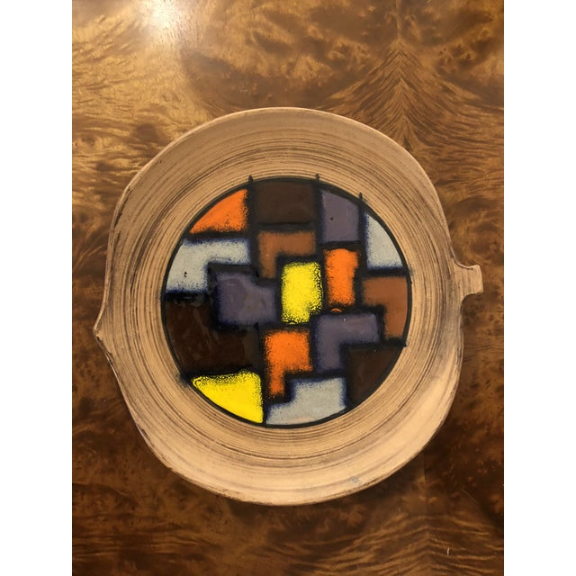 1970s Italian Abstract Enameled Ceramic Bowl For Sale - Image 4 of 4