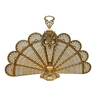 Brass Folding Peacock Fireplace Screen For Sale