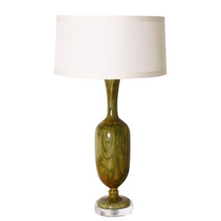 Marbro Marbleized Glass Lamp, C. 1960 With Shade For Sale