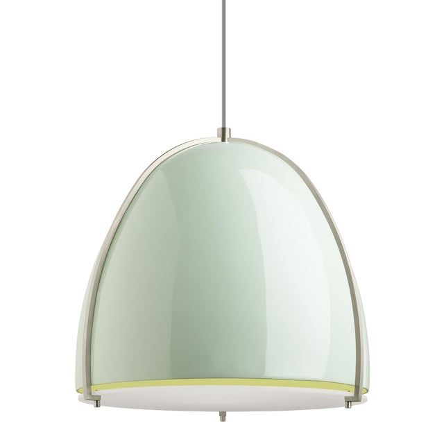 Paravo Pendant LED Mint and Satin Nickel For Sale