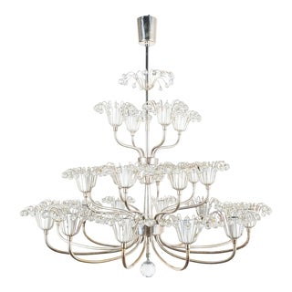 Set of Three Emil Stejnar Chandeliers Silver Glass, Austria For Sale