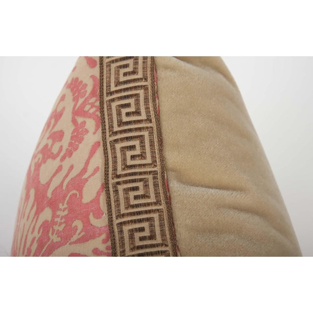 Fortuny Pair of Fortuny Fabric Pillows With Greek Key Trim For Sale - Image 4 of 6