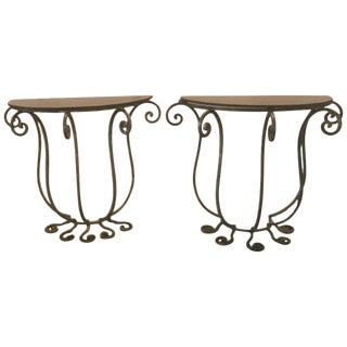1920s Art Deco Wrought Iron Demilune Tables - a Pair For Sale