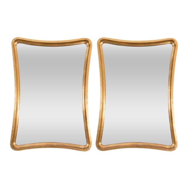 Pair of Giltwood Wavy Mirrors For Sale