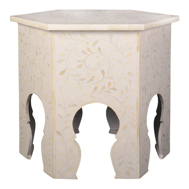 Imperial Beauty Moroccan Accent Table in MOP/White For Sale