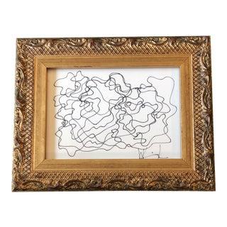 Original Vintage Wayne Cunningham Abstract Ink Drawing Ornate Vintage Frame For Sale