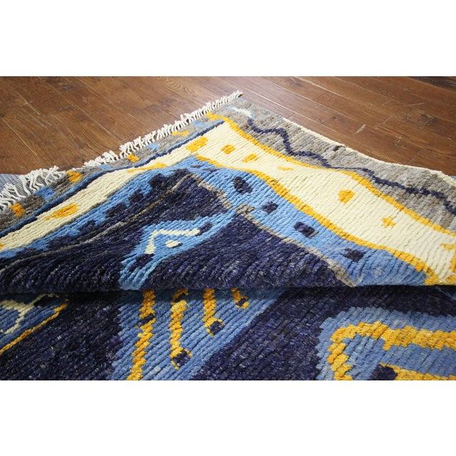 "Blue Wool Tullu Hand Knotted Rug - 7' 10"" X 10' 3"" - Image 9 of 10"