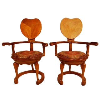 Vintage Antoni Gaudi Oak Arm Chairs in the Manor of Calvet - a Pair For Sale