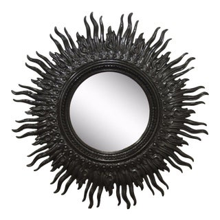 "48"" Vintage Mid Century Hollywood Regency Wavy Black Sunburst Wall Mirror"
