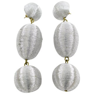 Disco Time Oversized Dangling Silver Metallic Thread Pierced Earrings For Sale