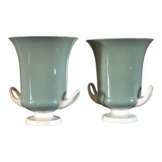 1930s Keith Murray for Wedgewood of Etruria & Barlaston Celadon Vases - a Pair For Sale