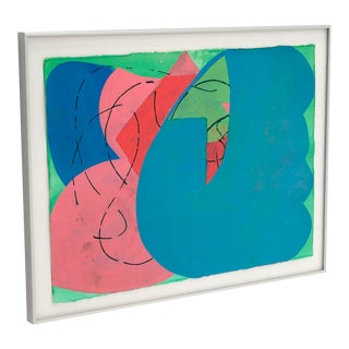 1990s Abstract Watercolor Painting by Lester Goldman, Framed For Sale