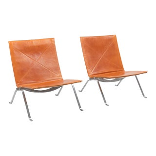 Pk22 Cognac Leather Kold Christensen Lounge Chairs For Sale