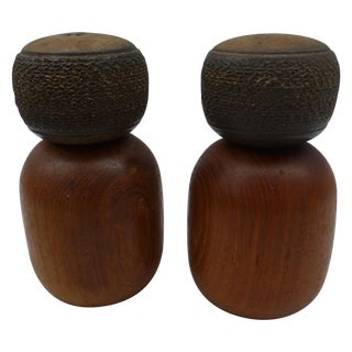 Danish Modern Teak & Ceramic Salt & Pepper Shakers