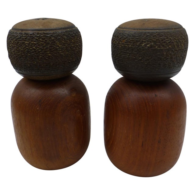 Danish Modern Teak & Ceramic Salt & Pepper Shakers - Image 1 of 6