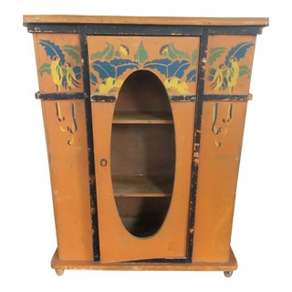 1940s French Hand Painted Wood Cabinet For Sale