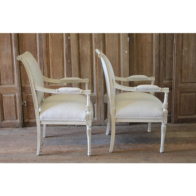 White 20th Century Napoleon Style Upholstered Open Arm Chairs- A Pair For Sale - Image 8 of 13