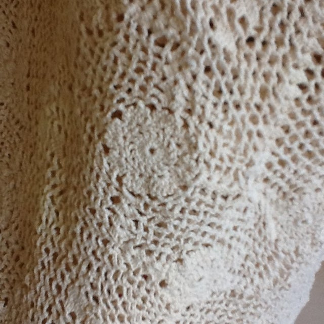 Vintage Boho Crocheted Coverlet or Tablecloth - Image 5 of 11