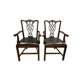 Carved Mahogany Chippendale Armchairs Dining Chairs- a Pair For Sale