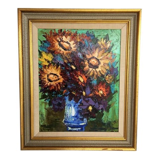 """Original Oil Painting by Josep Tur Titled """"Flores"""" For Sale"""