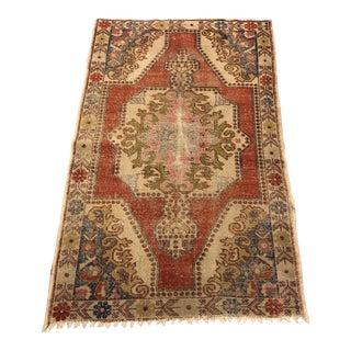 Oushak Handmade Antique Wool Rug - 4′7″ × 7′2″ For Sale