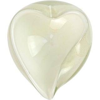 Barbini Murano White Gold Flecks Italian Art Glass Heart Shaped Bowl Dish For Sale