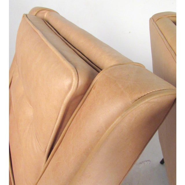 Pair Modern Leather Lounge Chairs For Sale - Image 9 of 11