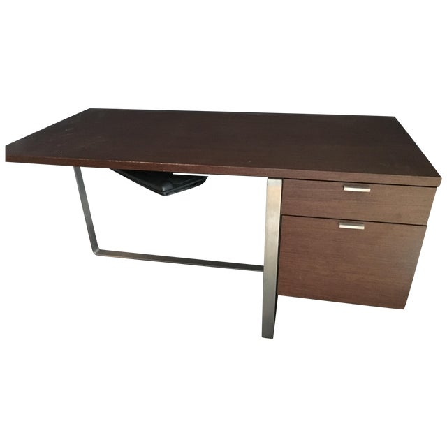 Modern Wood and Stainless Steel Desk - Image 1 of 3