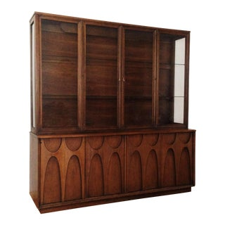 Walnut Brasilia Buffet Credenza by Broyhill With Detachable China Hutch For Sale