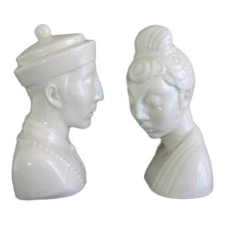 Mid-Century James Mont Style Chinoiserie Blanc De Chine Style Ceramic Busts - A Pair For Sale