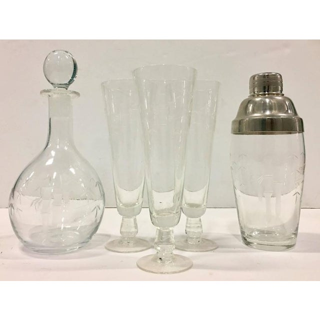 1930s Japanese crystal bamboo motif six-piece drinks set. Features a delicate frosted hand etched bamboo motif. Set...