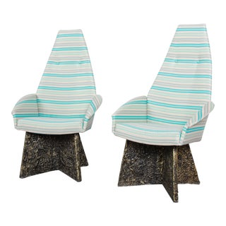 Adrian Pearsall Mid-Century Brutalist High Back Lounge Chairs - a Pair For Sale