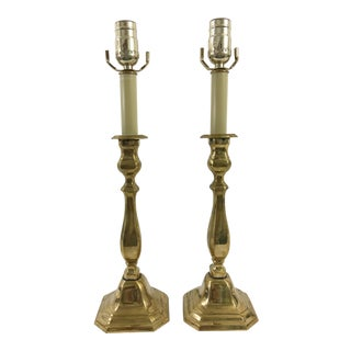 English Brass Candlestick Lamps - a Pair For Sale