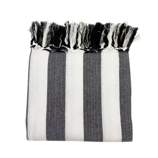 Boho Chic Black & White Handwoven Turkish Towel For Sale