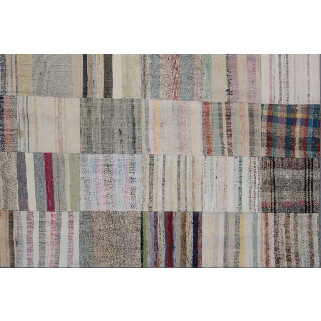 """Hand Knotted Patchwork Rug by Aara Rugs Inc. - 7'9"""" X 5'6"""" - Image 3 of 3"""