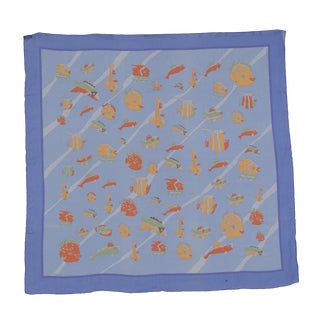 Vintage Hermes Silk Chiffon Tropical Fish Scarf Au Clair De La Mer For Sale