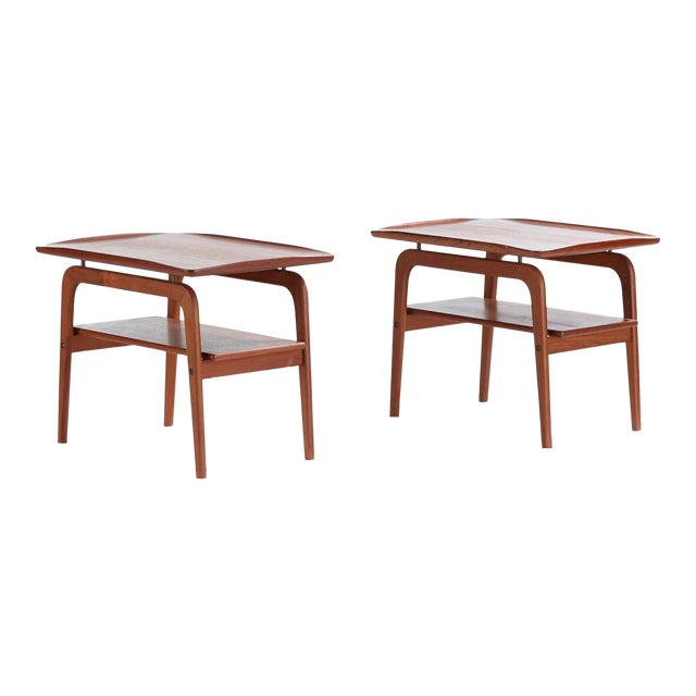 1960s Danish Modern Arne Hovmand Olsen Teak and Brass Side Tables - a Pair For Sale