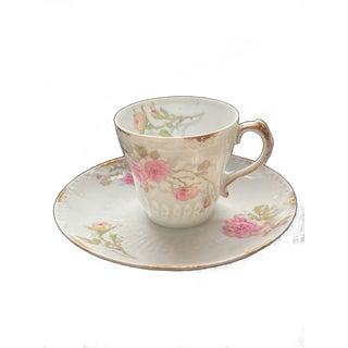 1900s Limoges Schleiger 1313-3 Pink Roses Demitasse Tea Cup and Saucer For Sale