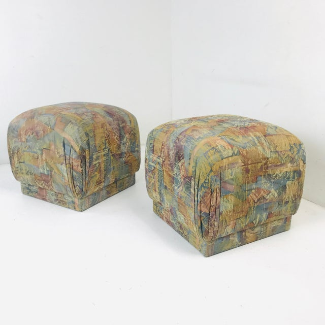 Pair of Pouf Ottomans With Plinth Base For Sale - Image 11 of 12