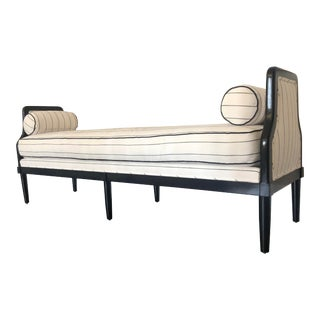 Custom White and Black Upholstered Bench For Sale