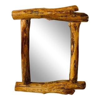 Organic Modern Design Maple Wood Framed Wall or Mantel Mirror For Sale