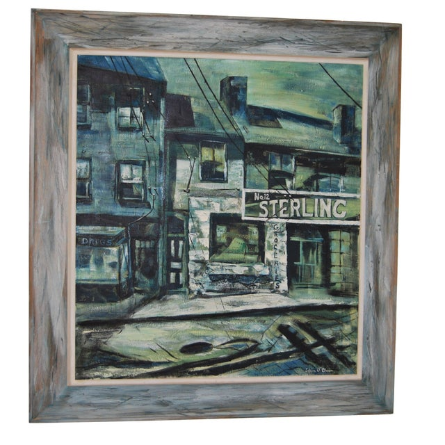 1960s Blue-Tone Oil Painting For Sale - Image 5 of 9