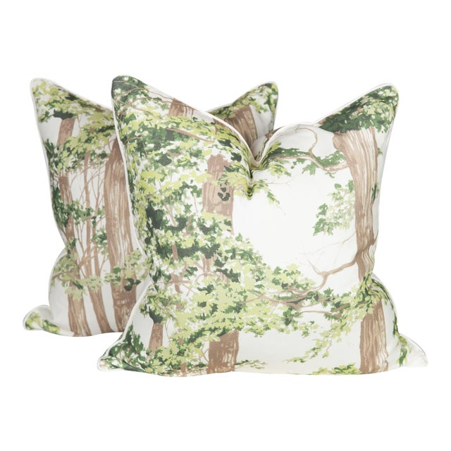 Custom Green Woodland Pillows - A Pair - Image 1 of 5