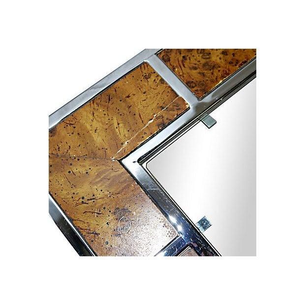 Milo Baughman-Style Chromed Steel & Burlwood Table - Image 2 of 5
